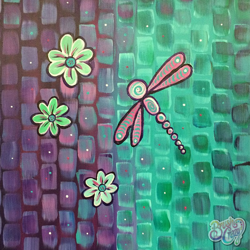 Dragonfly Mosaic Purple and Teal