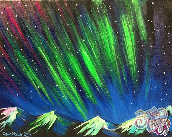 Northern Lights Green with Mountains