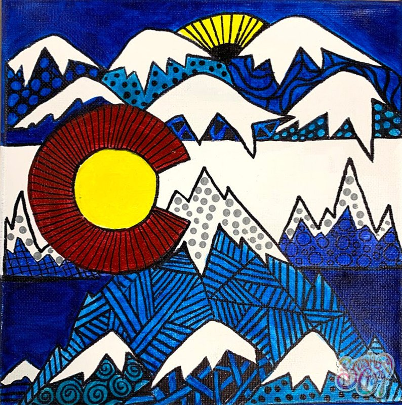 Doodle CO Flag Mountains