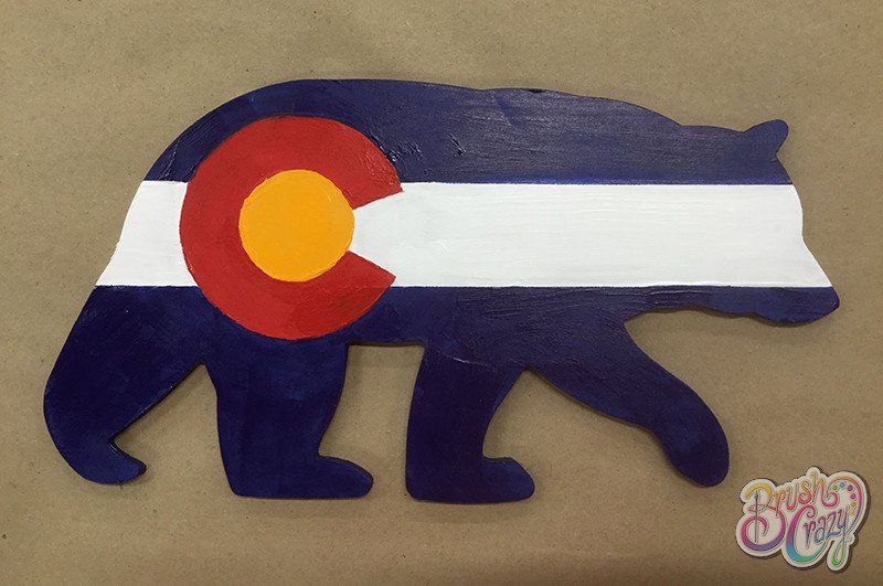 Colorado Flag Bear Cutout 12in