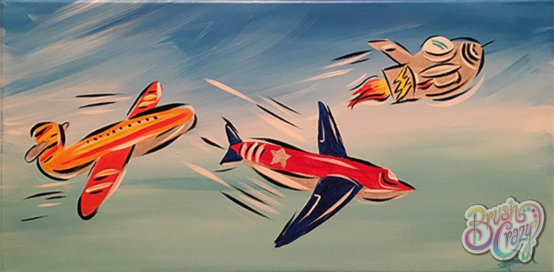 Airplanes and Rocket - Guided Open Paint