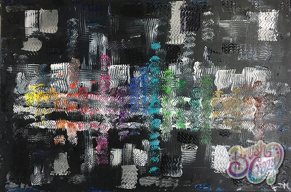 Abstract Black with Rainbow - Guided Open Paint