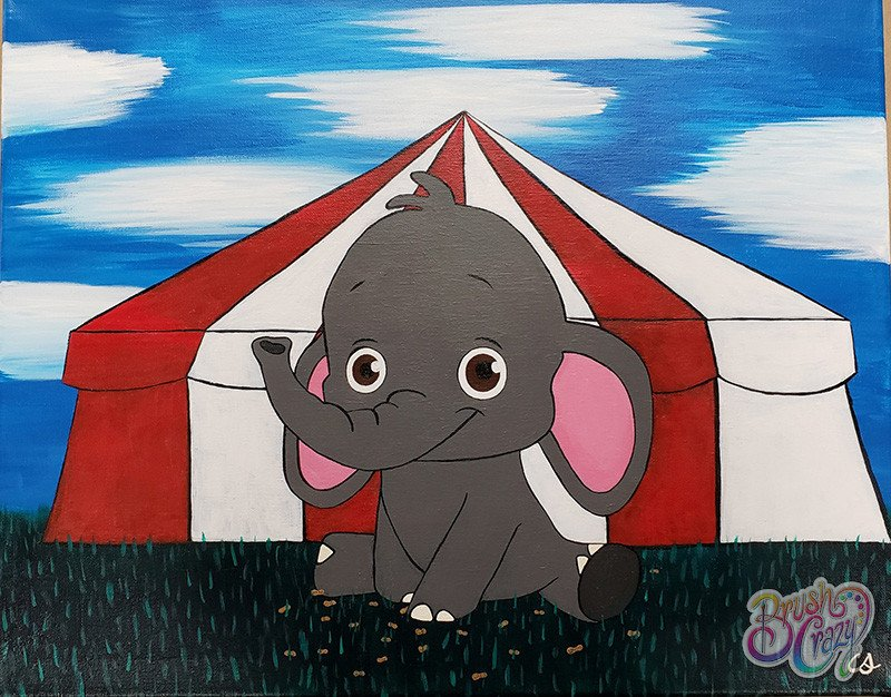 Baby Elephant with Circus Tent