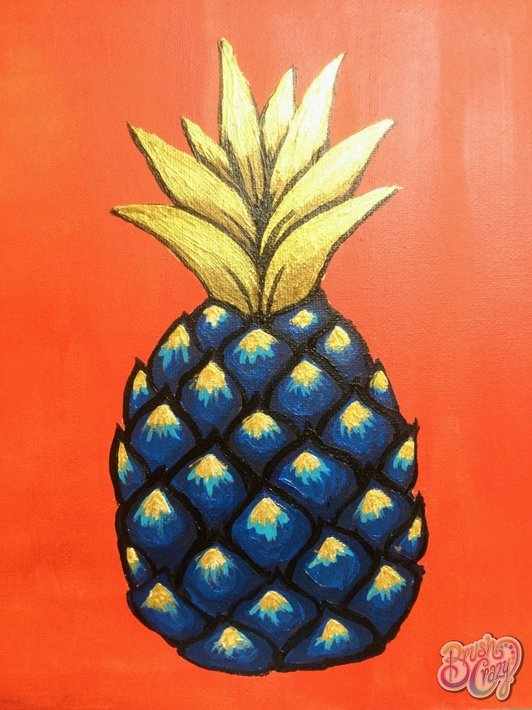 Pineapple - Blue & Gold on Coral