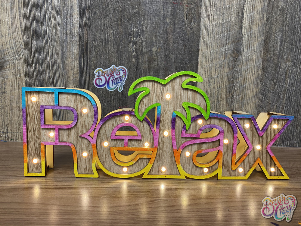Relax 3D wood LED lighted sign