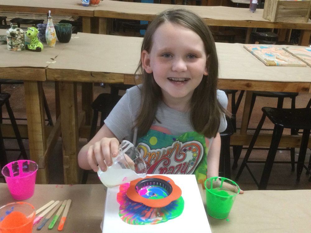 Youth Paint Pouring Class Workshop 7-9 yr olds